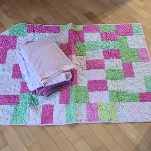 Lot of 3 Soft Baby Blankets and 1 Quilt (girl)